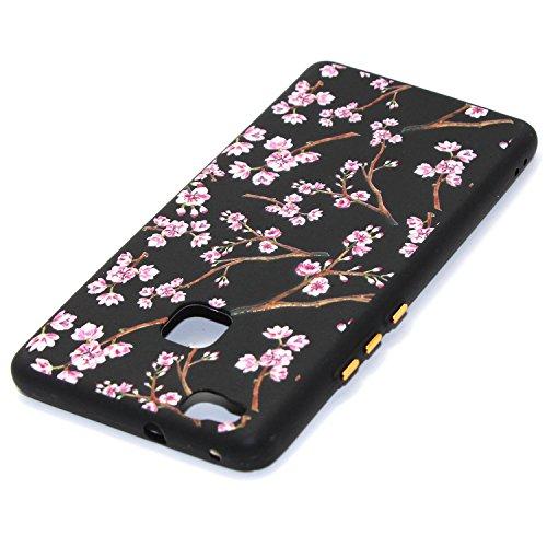 Coque pour Huawei P9 Lite,Étui Huawei P9 Lite Case,ETSUE Coque Huawei P9 Lite Slicone TPU Cover Housse de Téléphone avec Joli FleurTournesol fleur de pêcher en Relief ave Fond Noir Ultra Mince Coque H Rose Fleur 6#