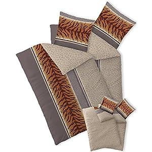 ... Set Kopfkissen Bettbezug Reißverschluss Atmungsaktiv Bett Garnitur  80×80 Kissen Bezug CelinaTex 6000014 Fashion Adda Beige Braun Grau Afrika  Fell