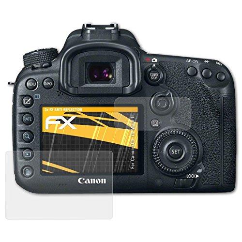 atFoliX Panzerfolie kompatibel mit Canon EOS 7D Mark II Schutzfolie, entspiegelnde und stoßdämpfende FX Folie (3er Set)