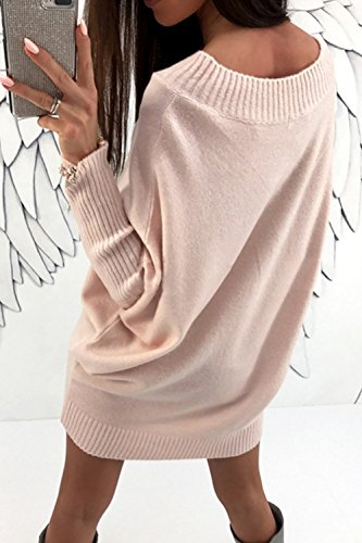 Le Donne Boatneck Invernale A Cardigan Party Mini Vestito Elegante. Pink