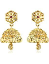 SKN Golden American Diamond Alloy Dangle & Drop Jhumki Earring For Women & Girls (SKN-3259)