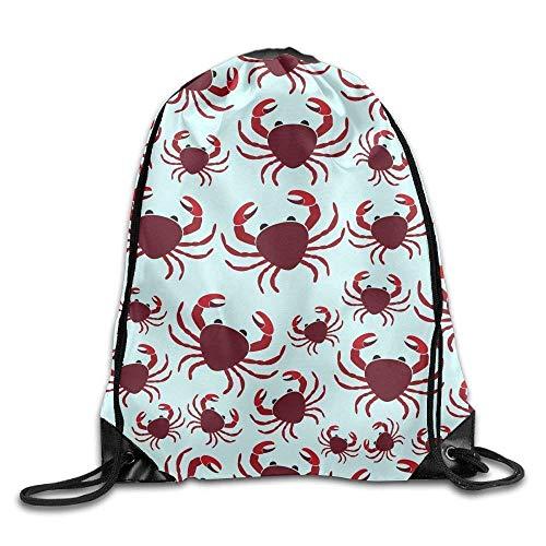 Setyserytu Sporttasche mit Kordelzug, Sportrucksack, Reiserucksack, Drawstring Bags Gym Bag Travel Backpack, Cute Crabs, Small Drawstring Bags for Women Men Adults Black 2 Lightweight Unique