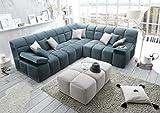 Froschkönig24 LEON Ecksofa Eckcouch Couch Sofa Armteilverstellung 234x113x270 cm Petrol, Ausführung:Ottomane RECHTS