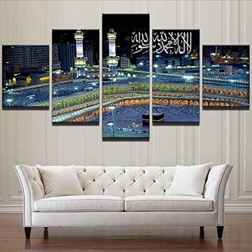 Wuwenw Wandkunst Leinwand Malerei Rahmen Raum Home Decor 5 Stücke Islamische Moschee Burg Landschaft Bilder Allah Der Koran Poster, 12X16 / 24/32 Zoll, Ohne Rahmen