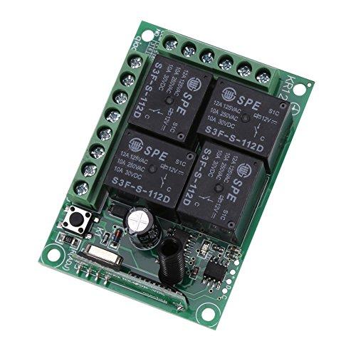 Fdit-12V-433Mhz-4CH-Controlador-de-Interruptor-Inalmbrico-RF-Interruptor-de-Control-Remoto-Inalmbrico-Mdulo-de-Receptor-para-Abrepuertas-para-Garaje-Automviles