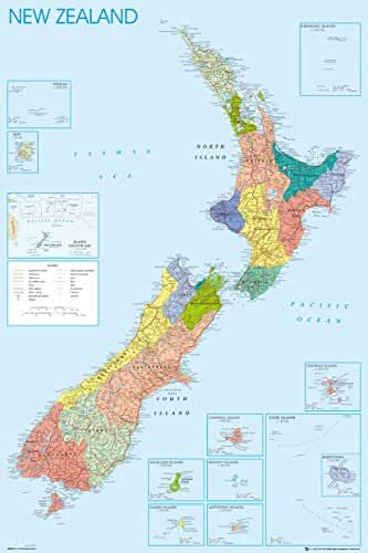 Poster revolution uk amazon oceania travel gb eye 61 x 915 cm new zealand map maxi poster assorted gumiabroncs Image collections