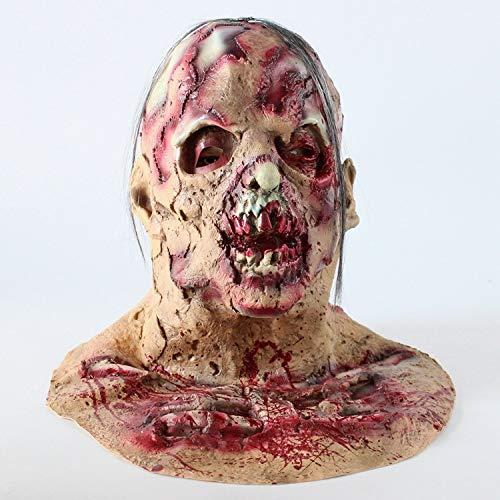 POIUYT Adult Horror Grimasse Haube Maske Funny Scary Teufel Zombie Horror Ekelhaft Kostüm Requisiten Halloween Ghost Festival/Lustige Party Perücke,A9 (Adult Funny Ghost Kostüm)