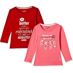 Palm Tree Girls' Jumper (Pack of 2) (131246516491 C503 CAMELLIA ROSE(C503) 2)