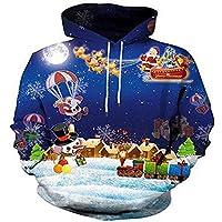 El otoño y el Invierno de los Hombres suéter de los Hombres de Santa Claus en 3D de Europa y los Estados Unidos Cabeza Print Sweater,XXL