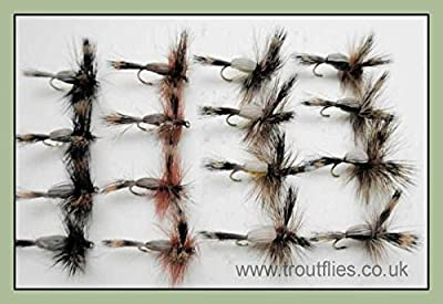 Humpy Trout Flies, 16 Pack Early Season Humpy Mayflies, size 10, For fly Fishing from Troutflies UK