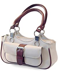 Generic Office Wear Women's Stylish Small Basket Casual 24 Ltr Leather Handbag With Red Handle Off-white Color
