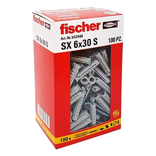 Fischer 542446tacos con tornillo Izquierda, Gris, 6x 30mm, juego de 100piezas