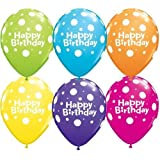 "Happy Birthday Big Polka Dots Mixed Qualatex 11"" Latex Balloons x 5"