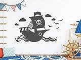 tjapalo® s-pkm402 Wandtattoo Kinderzimmer Junge Wandtatoo Pirat pkm402 (B100 x H58 TOP)