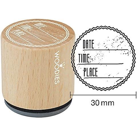 Woodies sello de goma montado 1.35-inch FECHA tiempo lugar, acrílico, multicolor, 3piezas