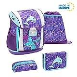 Belmil Ergonomischer Schulranzen Set 4 - teilig Größen verstellbar Mädchen 1. 2. 3. 4. klasse - gepolsterter Hüftgurt und Brustgurt/Meerjungfrau, Mermaid/Lila, Purple (404-20 Mermaid)