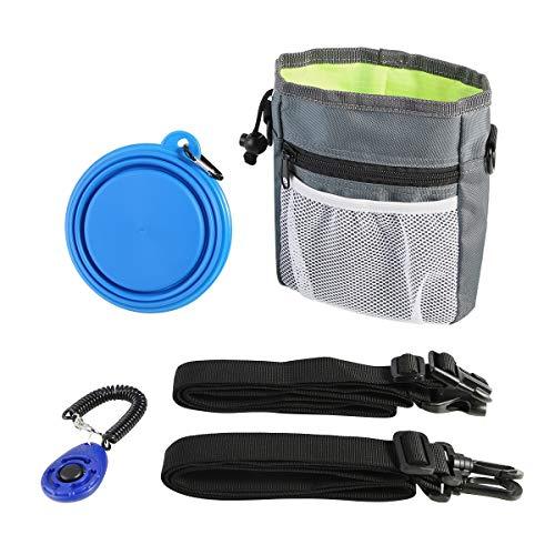 Jinxuny Dog Treat Pouch Pet Food Aufbewahrungstasche Träger Halter 3 Möglichkeiten, mit integriertem Poop Bag Dispenser & Training Clicker & Faltbare Schüssel zu tragen -