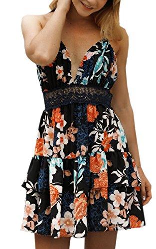 ECOWISH V Ausschnitt Kleid Damen Spitzenkleid Träger Rückenfreies Kleider Sommerkleider Strandkleider 983Schwarz L Urlaub Kleid Kleid