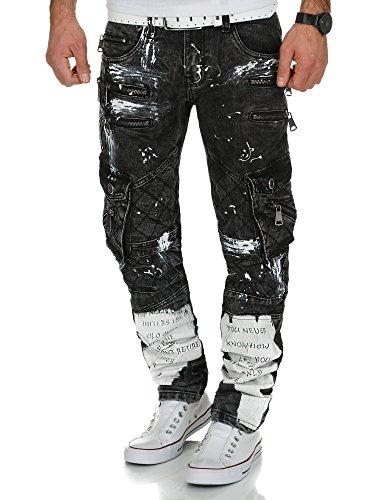 Kosmo Lupo Herren Jeans Hose KM176 Schwarz W34/L34 (Multi Cargo Pocket Jean)