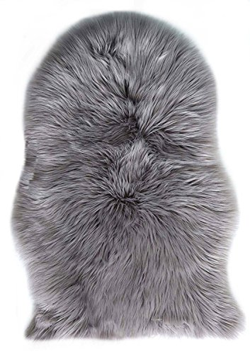 Natur-Fell-Shop–Alfombra de piel artificial (60x 90cm, piel de oveja sintética cordero sintética Alfombra Longhair pelo piratería. Lana cama Alfombrilla sofá Matte (gris)