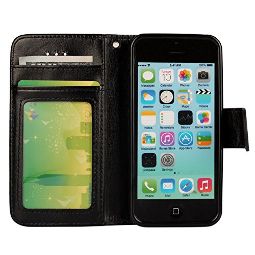 iPhone 5C Case, [Wallet Function] [Stand Feature] Vintage Crazy Horse Premium Leather Case, Flip Folio Book Cover with Magnetic Closure [Cash Pocket & 3 Credit Card Holders] (Rose) Black