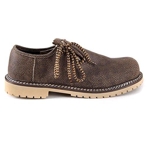 Smokey Schwarz Schuhe (Almbock Trachtenschuhe mittel-braun - (anti-smokey) Größe 40 41 42 43 44 45 46 uriger Look, braun-meliert, leicht zu tragen, klassische Schuh-Bänder)
