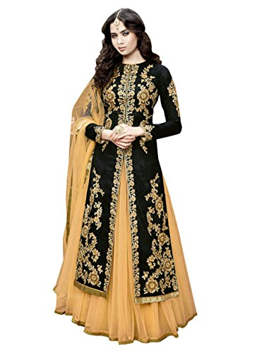 Mahalaxmi Fashion Exclusive Designer Anarkali Black Bangolori Silk Un-Stitched Dress material With Embroidered Work MFD-22