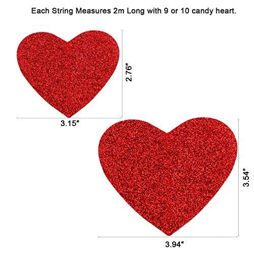 HOWAF San valentín decoración Corazón Guirnaldas de PVC día de San valentín Colgar decoración para Aniversarios,  Compromiso,  Fiesta de Bodas,  6 Hilos