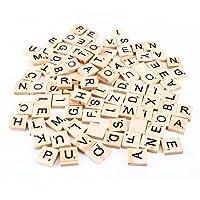 Scrabble Tiles Letters Alphabet Wooden Pieces Numbers Pendants Spelling Accessory 100 Pcs 1.8 × 2.0 × 0.5 cm