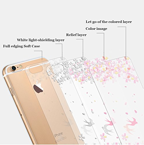 iPhone 7 Plus Custodia (5.5) , Bonice iPhone 7 Plus Cover, Trasparente Morbido Ultra Slim Thin Crystal Clear Cover + 1x Protezione Schermo Screen – Coccinella Model 15