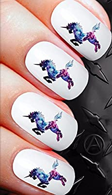 Stickers pour ongles X 20Nail Art de transfert Stickers pour ongles–Galaxy Pegasus Licorne Fantasy.–Qualité Salon Stickers pour ongles