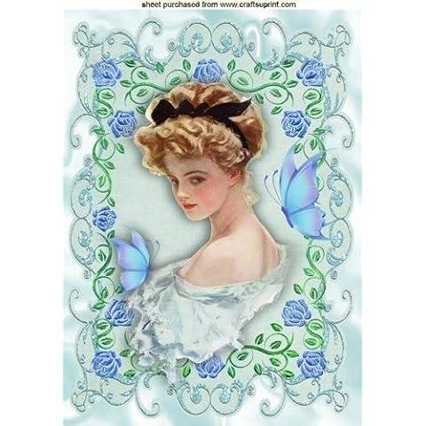 Vintage Lady in cornice di rose con farfalle A4da Nick Bowley