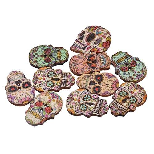 50 botones calaveras colores de madera para scrapbooking,...