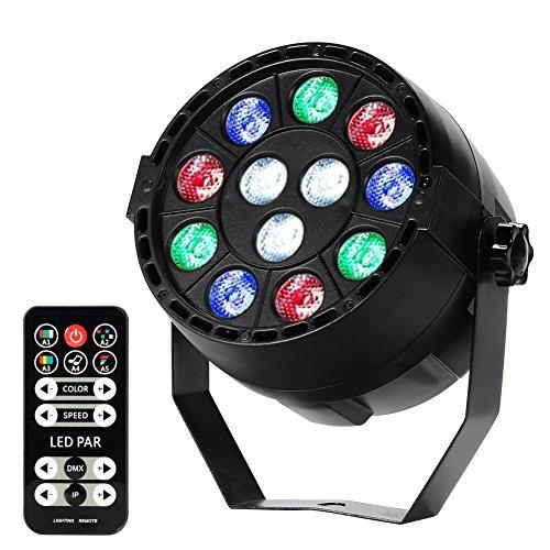 12 LED Par Lichter, Lunsy RGB Party Licht, dmx steuerung DJ Lichteffekte , 1W Bunte Disko Lichteffekte 7 Beleuchtung Modi Bühnenbeleuchtung, Flexible Fernbedienung Disko Licht Led-par Dj
