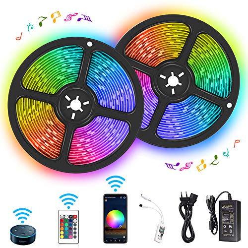 Tira LED WiFi 10M RGB 300 LEDs 5050 IP65 Impermeable Luces LED Kit Funciona con Alexa Echo/Google Assistant, Multicolor Regulable, Perfecto para Navidad, Fiesta y Decoración Doméstico