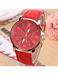 Geneva Red Color Unisex Watches Roman Numerals Fau PU Leather Analog Quartz Women Men Casual Relogio Hours Wrist...