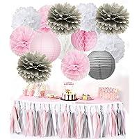 Chica Cumpleaños Decoraciones Furuix 24pcs Rosa Gris Blanco / Borla Garland Papel Linternas Papel de seda Pom Pom Honeycomb Ball para despedida de soltera Decoración de la boda / Baby Shower Decoracio