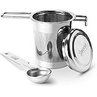 Sweese 2201 Teesieb Teefilter Geschenk-Set mit Teelöffel und Deckel/Abtropfschale, Edelstahl fein Sieb Passend für Tasse/Teekannen/Töpfe/ und geeignet für jeden losen Tee und alle Tee-Blätter