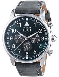 Cerruti 1881 TERRA CRA081SN19GY - Reloj para hombres, correa de cuero color gris