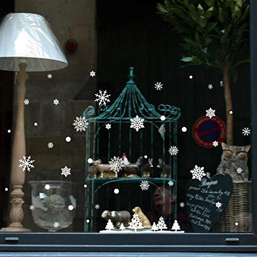 Weihnachts Wandaufkleber,Fachmessen, Ein Click-Parkett Verlegen Im Handumdrehen Statische Weiße Schneeflocke Fenster Abnehmbare Wandmalereien Qualität Aufkleber Wohnzimmer Kinder Kindergarten Restau