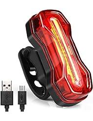 Albrillo COB LED Lumière Arrière, Eclairage Arrière Vélo LED 120lm, Lumière Vélo Feu Arrière Vélo USB Rechargeable , Feu Arrière de vélo avec 6 mondes d'éclairage, Étanche
