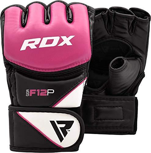 RDX Damen MMA Handschuhe Profi Kampfsport Boxsack Sparring Training Grappling Gloves Freefight Sandsack Maya Hide Leder Punching Handschuhe (MEHRWEG)