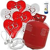 50 Herz Luftballons mit Helium Ballon Gas Motiv Herzen Hochzeit Valentinstag Komplettset + Gratis Doriantrade Seifenblasen (Rot/Weiß)