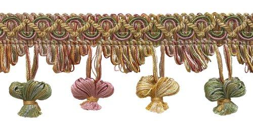 DecoPro 4,5Meter (Packung mit Rosa, Pastellfarben, Grün, LT, Gold, 5cm, Imperial II Zwiebel Tassel Fringe-nt2503Farbe Rose Garden-3549(15m) -