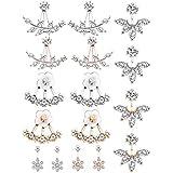 Jcevium 8 paia di orecchini alla moda in argento con foglia di fiore e cristalli, per donne