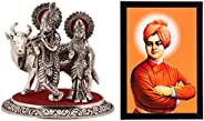 eCraftIndia Radha Krishna Statue with Cow & 'Swami Vivekananda' Satin Matt Texture Up Art Painting