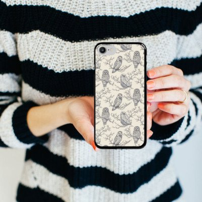 Apple iPhone X Silikon Hülle Case Schutzhülle Eulen Wald Natur Hard Case schwarz
