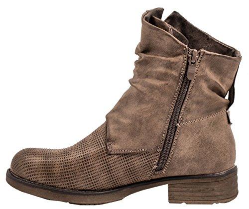 Elara Damen Biker Boots | Trendige Kurzschaft Stiefeletten | Schnallen Nieten Khaki Manhatten