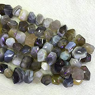 Jewel Beads Natural Beautiful Jewellery 1 Strands Natural Gray White Botswana Agate Fortification Onyx Hand Cut Faceted Nugget Free Form Loose Beads Size: 13x18mm 15