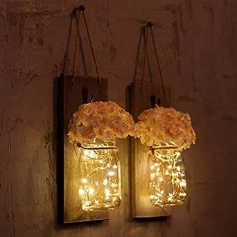 Barattolo, applique da appendere con lucine a LED, in ferro battuto ganci, seta ortensia candela/fiore e luci LED Strip design per la decorazione (set di 2)